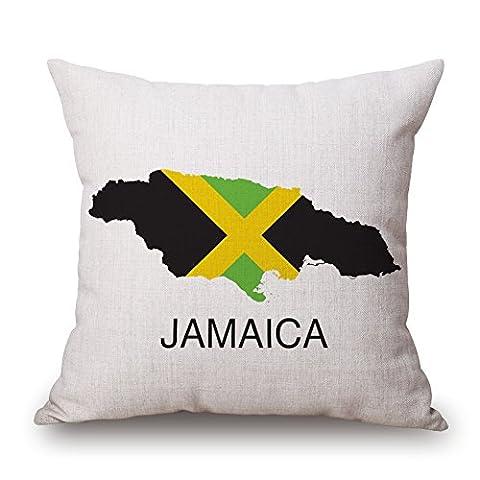 Jamaica Maps Print Decorative Throw Pillow Cushion Cover, 45cm x 45cm