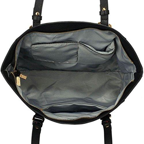 xardi Londres 30,5cm Grand épaule sacs femmes Barre d'appui en imitation cuir sac à main Collège travail sac Mesdames noir/blanc