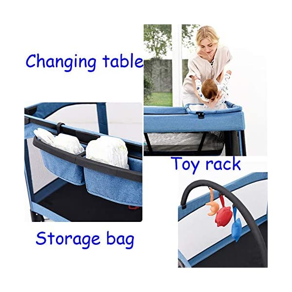 Mr.LQ Travel Cot Baby Bedside Crib Folding Sleep Play Centre with Bassinet Changing Top Mattress for 0-36 months  ♥All suits: with cradle, replacement top, equipment package, folding mattress and transport bag, toy rack, storage bag, you will be fully equipped with all travel and baby ♥ Durable high-quality materials: Aluminum frame provides a solid and stable structure for your child's safe sleep. ♥ Easy to fold: With just a few movements, this crib can be assembled and folded compactly, making your next trip very convenient. 7