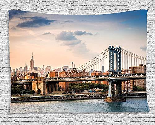 Soefipok NYC-Dekor-Wandteppich, Manhattan Bridge und die New Yorker Skyline bei Sonnenuntergang East River Highrise-Gebäude, ikonische Stätten, Wandbehang für Schlafzimmer-Wohnzimmer-Schlafsaal - New River Gebäude
