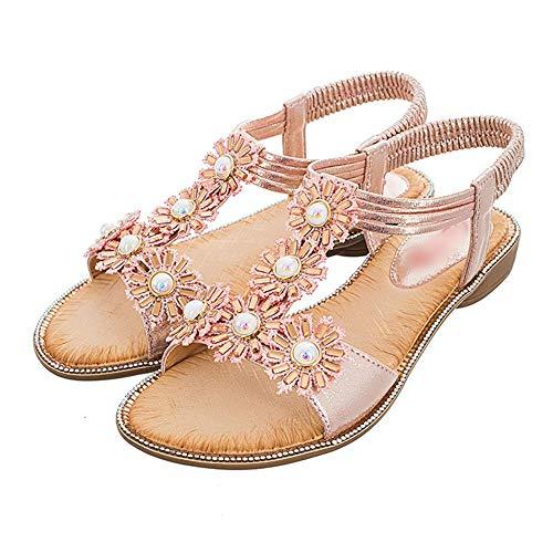 Fenghz-Shoes Schuhe Mode Lässige Bequeme Flache Schuhe Sun Flower Pearl Point Diamond Sandals (Farbe : Rosa, Size : 40) (Flower Sandal Pink)