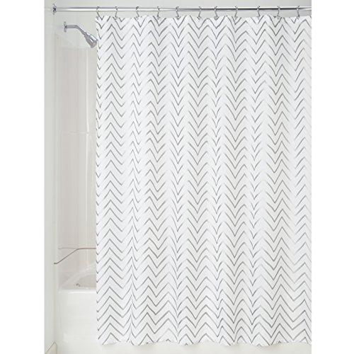 InterDesign Sketched Chevron Duschvorhang | Badewannenvorhang mit Zickzack-Muster | Designer Duschvorhang 180,0 cm x 200,0 cm | Polyester Silber (Vorhänge Designer Muster Stoff Mit)