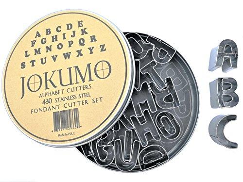 JOKUMO Mini Alphabet Buchstaben A-Z Fondant Ausstechformen 26Teile High Grade 430Edelstahl mit Dose und Form beschäftigt Vorlage Papier. Perfekt für Cookie, Fondant Gemüse und Obst.