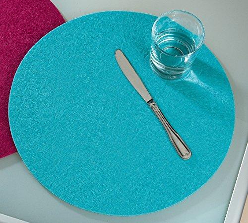 Platzsets Tischsets Filzuntersetzer rund Ø 35 cm Filz Untersetzer 4er Set Gilde, Farbe:mint