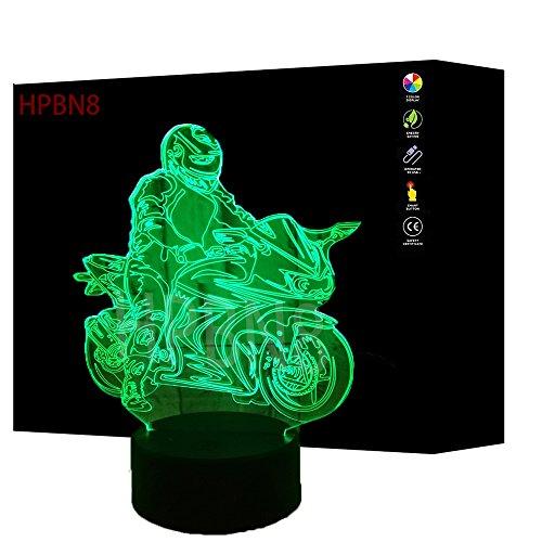 HPBN8 3D Motorrad Illusions LED Lampen Tolle 7 Farbwechsel Acryl Berühren Tabelle Schreibtisch-Nacht licht mit USB-Kabel für Kinder Schlafzimmer Geburtstagsgeschenke Geschenk