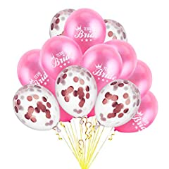 Idea Regalo - SunBeter Palloncini della squadra della gallina della sposa della squadra, 12 pollici Palloncini di coriandoli oro rosa Palloncini rosa divertenti per decorazioni di nozze - 15 pezzi