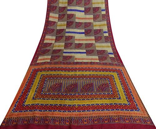 Vintage Indian Reine Seide Multicolor Saree Floral Printed Ethnische Craft Fabric