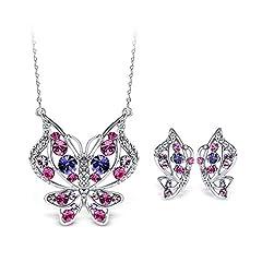 Idea Regalo - T400 Jewelers Collana con Pendente e Orecchini a Farfalla Regalo di San Valentino per donne fidanzate