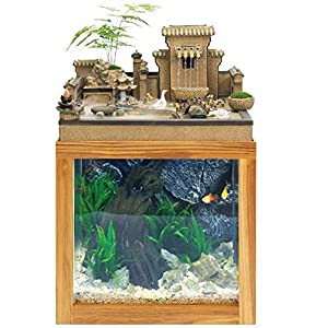 MTCWD Desk Aquarium Table Fish Tank Interior Decoration Humidification Natural Landscape Home Decoration Indoor Fountain…