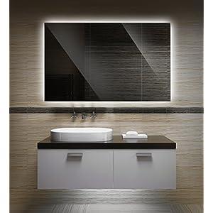 Badezimmerspiegel mit Beleuchtung LED Spiegel - 70x50 cm -Badspiegel mit Licht - Design Spiegel für Bad und Gäste WC hinterleuchtet - beleuchteter Wandspiegel Rahmenlos - OZ-LED