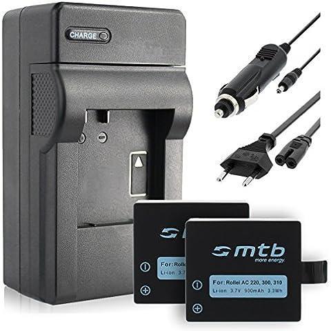 2x Batteria + Caricabatteria (Auto/Corrente) per Rollei Actioncam 220, 300,