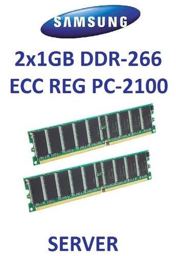 Dual Channel Kit: Samsung 2 x 1 GB = 2GB 184 pin DDR-266 ECC Registered DIMM (266Mhz, PC-2100, CL2.5) - entspricht HP Teilenummer 300680-B21 - IBM Teilenummer FRU 2x 09N4308, 2x 33L5039 - DELL 311-1621 - Fujitsu Siemens S26361-F2550-L525 -
