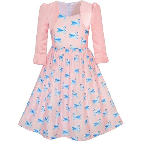 Mädchen Kleid 2-in-1 Bolero Elegant Schwan Kleiden Gr. 134