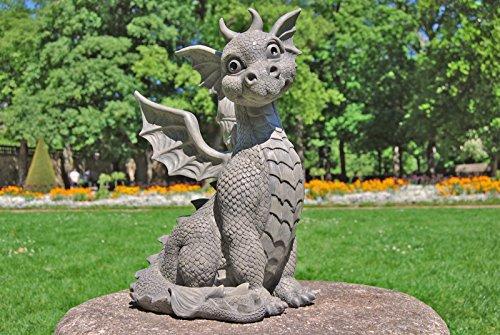 Drachen Gartenfigur Drachenkind Sitzend Groß Comparee Global
