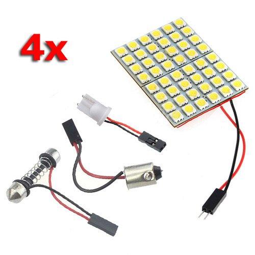 SODIAL (R) 4X 48 5050SMD LED bianco puro lampadina luce pannello T10 BA9S festone cupola Adattatore