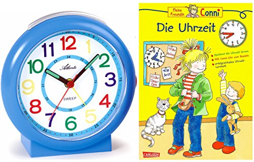 Kinderwecker Ohne Ticken Jungen Blau mit Lernbuch Conni Buch Uhrzeit Lernen - 1917-5 BU