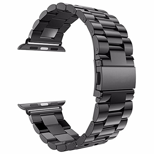 Evershop 38MM Watch Strap Band for Series 4/3/2/1, Watch Band Stainless Steel Replacement Watch Strap Wrist Band with Metal Clasp for Apple Watch,iWatch All Models-Black
