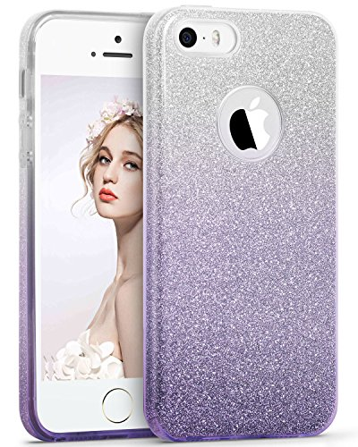 iPhone SE Fall, iPhone 5S Fall, imikoko 3in 1Sparkle Glitter Fashion Bling Hybrid Beauty Schutz Schutzhülle Slim für Apple iPhone SE/5S/5 Sliver+Purple iPhone SE/5s/5 (Iphone 5s Purple Rose Case)