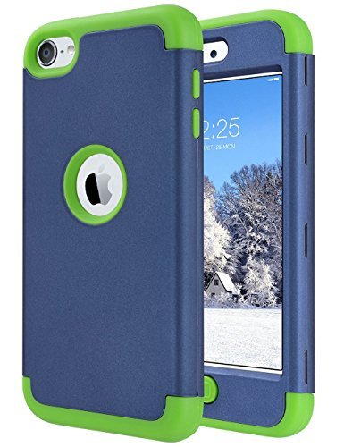 iPod Touch 6 Fall, iPod Touch 5 Fall, Ulak Heavy Duty High Impact Knox Armor Case Cover Schutzhülle für Apple iPod Touch 5 6. Generation, Navy Blue + Green - Apple Ipod Touch Cases