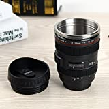 Anvey New Coffee Lens Emulation Camera Mug Cup Beer Cup Wine Cup Without Lid Black Plastic Cup&Caniam Logo 480ML Camera Lens Mug Lens Cup Stainless Steel Insulated Tumbler - Black