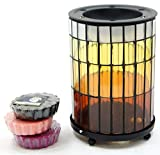 1 x ufficiale Yankee Candle Warm Summer Nights mosaico di vetro cera essenze bruciatore include 6 x Assorted Tarts