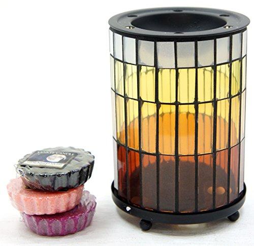 1x Offizielles Yankee Candle Warme Sommernächte Glas Mosaik Wax Melt Wärmer Brenner inkl. 6x Sortiert Tarts