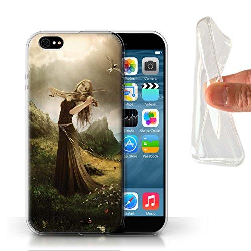 Officiel Elena Dudina Coque / Etui Gel TPU pour Apple iPhone 6 / Pack 6pcs Design / Réconfort Musique Collection Chanson de Fleurs