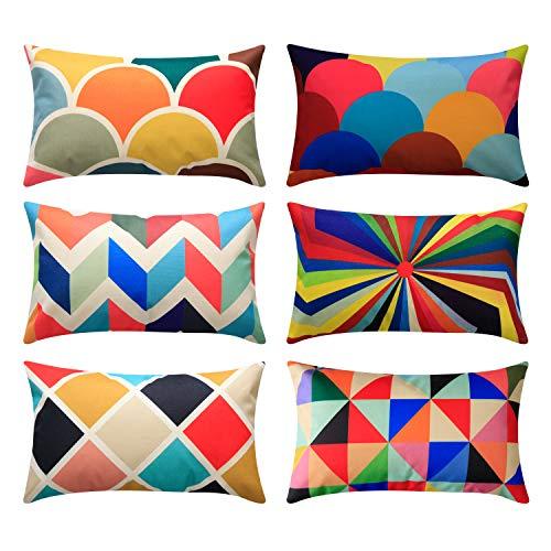 Topfinel federe cuscini geometric in cotone lino colorato quadrati decorativi in divano letto sedia set of 6,30x50cm,combinazione