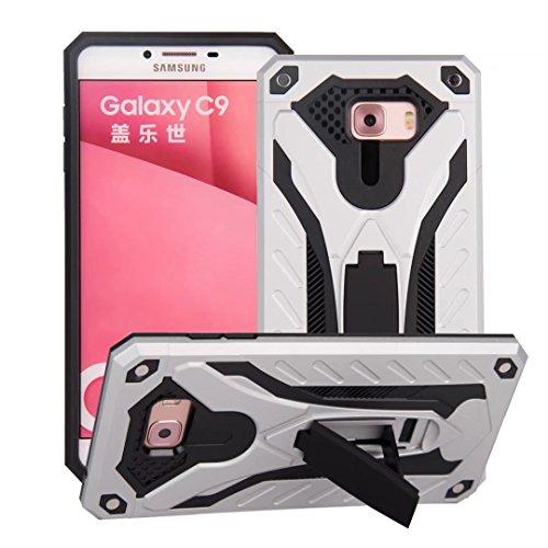 EKINHUI Case Cover Neuer stilvoller hybrider Rüstungs-schützender Abdeckungs-Fall Shockproof Doppelschicht PC + TPU rückseitige Abdeckung mit Kickstand für [Schock-Absorbtion] für Samsung-Galaxie C9 ( Silver