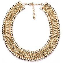 Lureme® elegante dorado kc aleación de estilo retro cuadrado cadena de espárrago con strass cristal collar corto (01002911)
