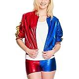 Costume Sexy pour Dames Harley Comic 2 Pièces Veste Mini-Short Rouge Bleu - 36/38