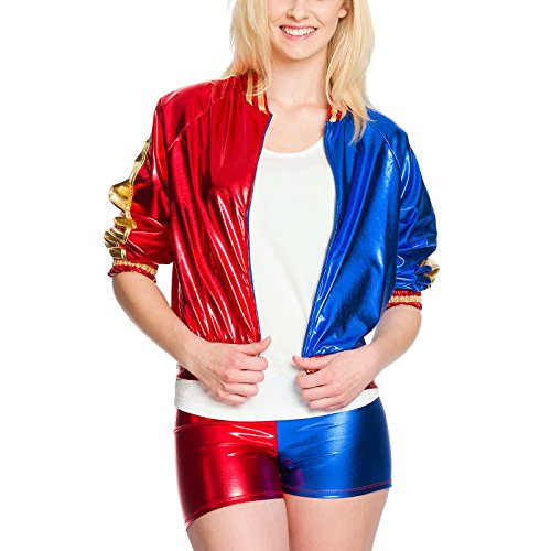 Hot Harley Comic Kostüm Damen 2tlg. Jacke Hot Pants rot blau - (Quinn Outfits Harley)