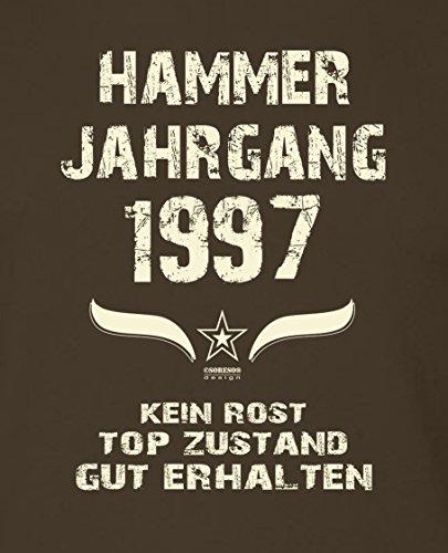 Geschenk zum 20. Geburtstag : Hammer Jahrgang 1997 : Geschenkidee Geburtstagsgeschenk für Ihn - Herren Männer Kurzarm T-Shirt Geschenkset auch in Übergrößen Farbe: braun Braun