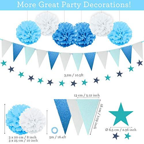 Globos de Estrella Decoraciones de la Fiesta de Cumplea/ños iZoeL Decoraci/ón Cumplea/ños Pancarta de Happy Birthday Azul Corazon Azul 30pcs Globos Perlados 10 Globus de Confeti