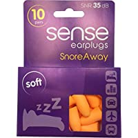 Snore Away Earplugs (Size Medium) for Snoring from SENSE. Soft and Comfortable Sleeping Aid SNR 35dB 10 Pairs