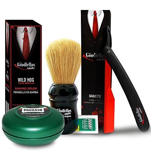 The Goodfellas' Smile Kit Traditional Shaving Inferno Straight Razor plus Proraso Shaving Soap and Omega Pure Bristle Shaving Brush