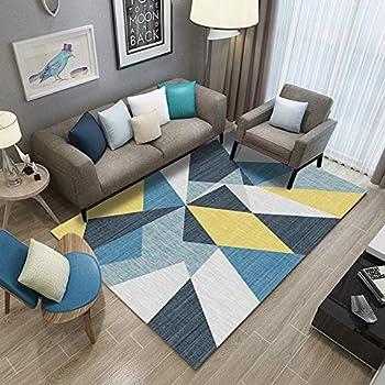 Tapis De Salon Canapé Table Basse Table Chambre Lavable Antidérapant Tapis  Jaune Bleu Coloré Triangle Coloré,120x170cm