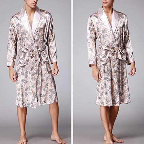 Zhhlaixing Fashion Men's Silk Lightweight Dressing Gown Loungewear Nightwear YT16QWP020 Light Tan