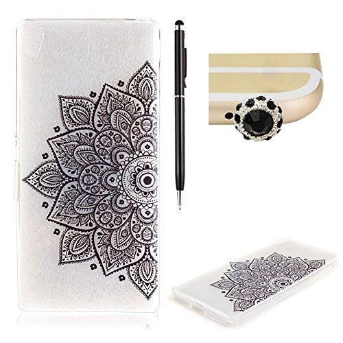 sony-xa-siliconeskyxd-crystal-clear-with-black-half-flower-design-pattern-soft-gel-premium-flexible-