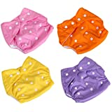 Babymoon ( SET Of 8 ) High Quality, Adjustable Size, Waterproof, Washable, Reusable Pocket Cloth Diaper Covers Nappies With Premium Wetfree Microfiber Washable Cotton Cloth Nappy Inserts (Baby Pink, Tangerine Orange, Deep Violet & Pineapple Yellow)