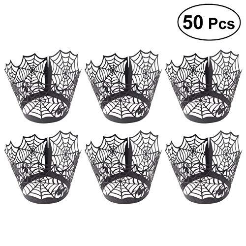 SUPVOX Kuchenverpackungen 50 Stücke Halloween Hohl Spinnennetz Cupcake Liners Hochzeit Geburtstag Party Baby Shower Wrap (schwarz)