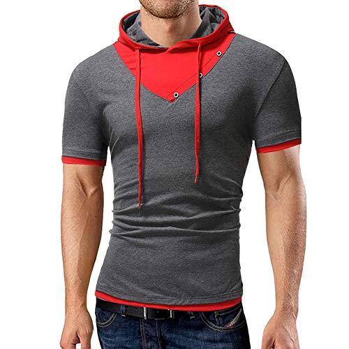 MORCHAN Casual Hommes été Capuche Patchwork T-Shirt à...