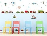 I-love-Wandtattoo WAS-10301 Kinderzimmer Wandsticker Set Bunte Autos für das Babyzimmer zum Kleben Wandtattoo Wandaufkleber Sticker Wanddeko