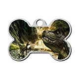 Dinosaur Pet Tag - Bone Shaped Dog Tag & Cat Tags Pet ID Tag Personalized Custom Your Pet's Name & Number 3D Printing