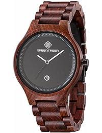57fa92bc64b0 GREENTREEN de reloj de pulsera madera Natural con función de calendario rojo