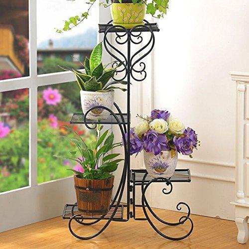 WW Estantes para flores 4 capas tipo suelo Flor de hierro Balcón...