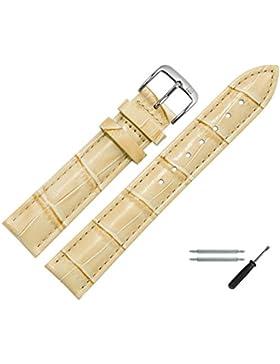 MARBURGER Uhrenarmband 14mm Leder Beige - Rindsleder, Kroko Prägung - Inkl. Zubehör - Ersatzarmband, Schließe...