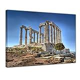 Kunstdruck - Kap Sounion - Griechenland - Bild auf Leinwand - 80x60 cm 1 teilig - Leinwandbilder - Bilder als Leinwanddruck - Urlaub, Sonne & Meer - Europa - Attika - Marmortempel des Poseidon