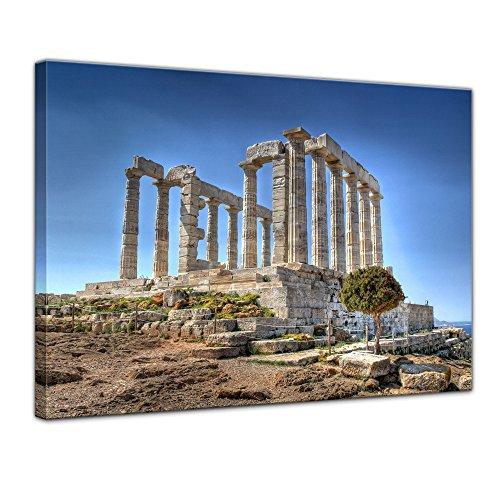 Wandbild - Kap Sounion - Griechenland - Bild auf Leinwand - 80x60 cm 1 teilig - Leinwandbilder - Bilder als Leinwanddruck - Urlaub, Sonne & Meer - Europa - Attika - Marmortempel des Poseidon