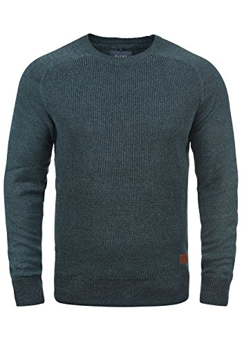 Blend Gandolf Herren Strickpullover Feinstrick Pullover mit Rundhals und Melierung aus 100% Baumwolle, Größe:XL, Farbe:Navy (70230)